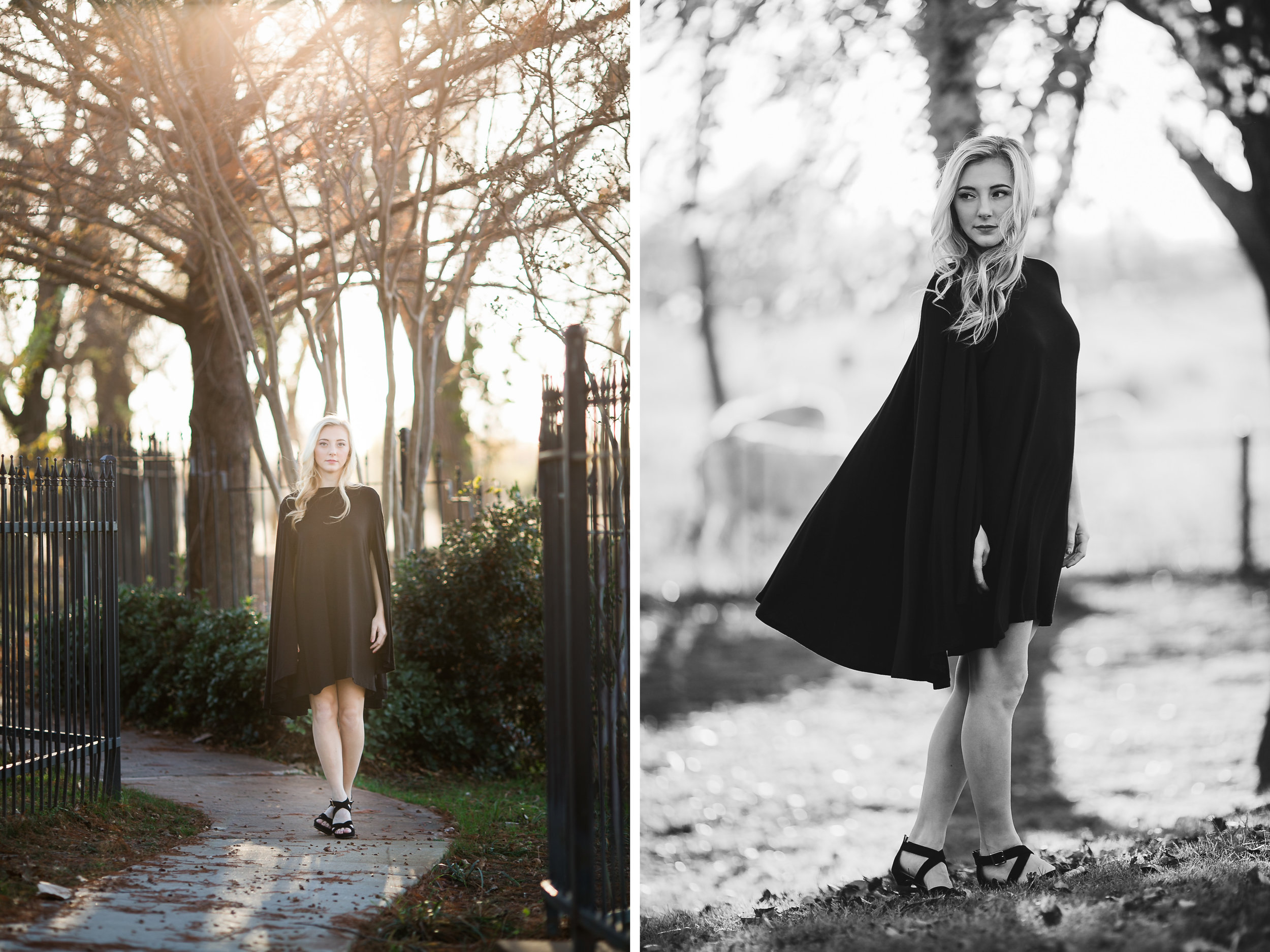 oklahoma senior photographer norman washington high school cape dress black