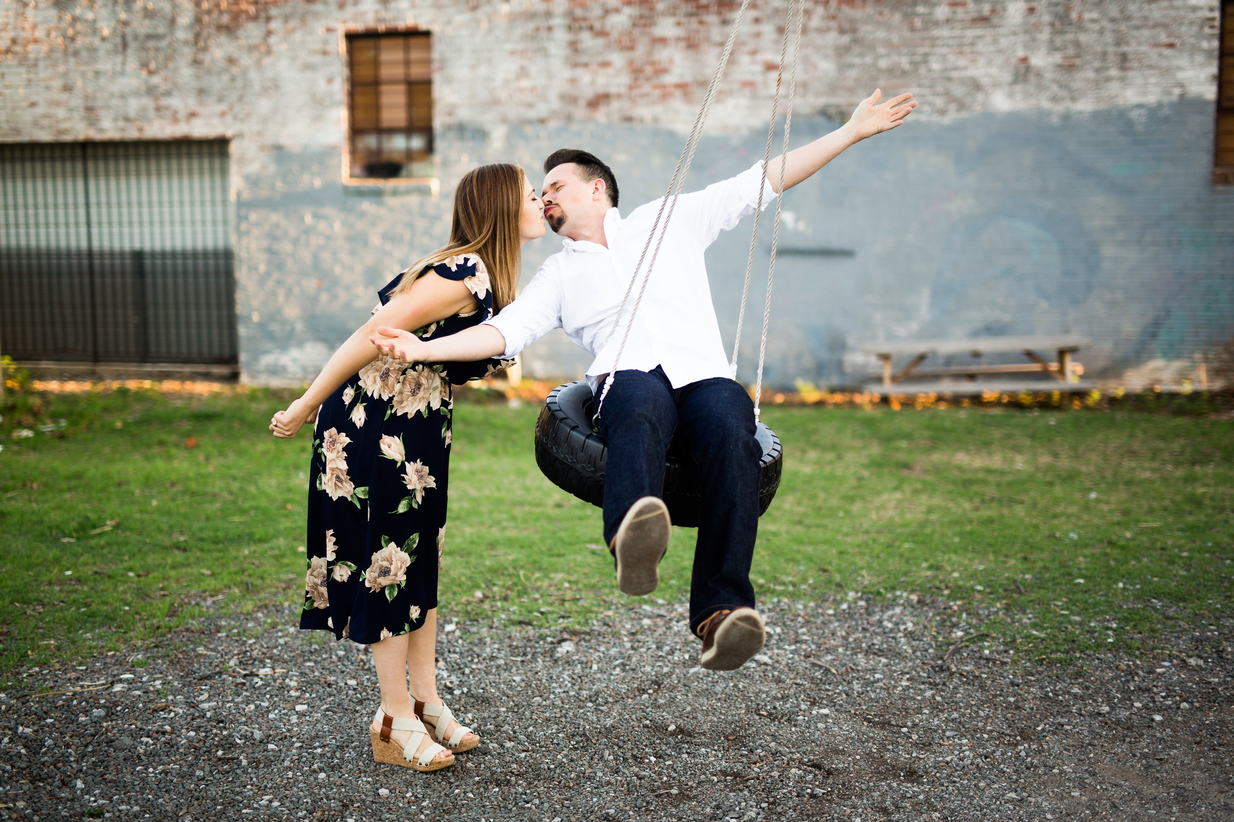 okc wedding photographer, oklahoma city, oklahoma weddings, norman, lgbt friendly, engagement session, fun engagement photos, tire swing engagement, automobile alley engagement
