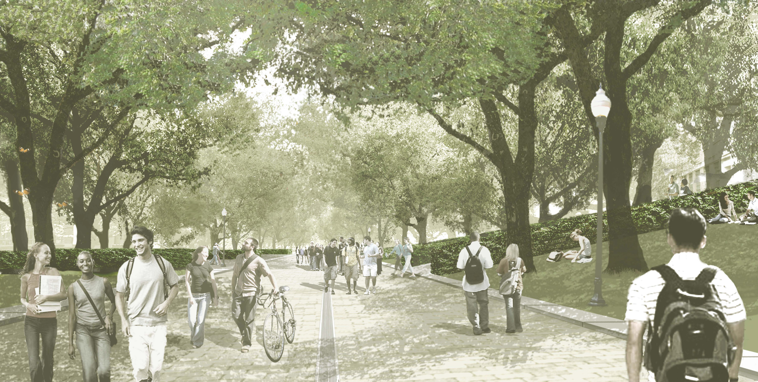 Rendering of the redesigned Speedway Pedestrian Mall