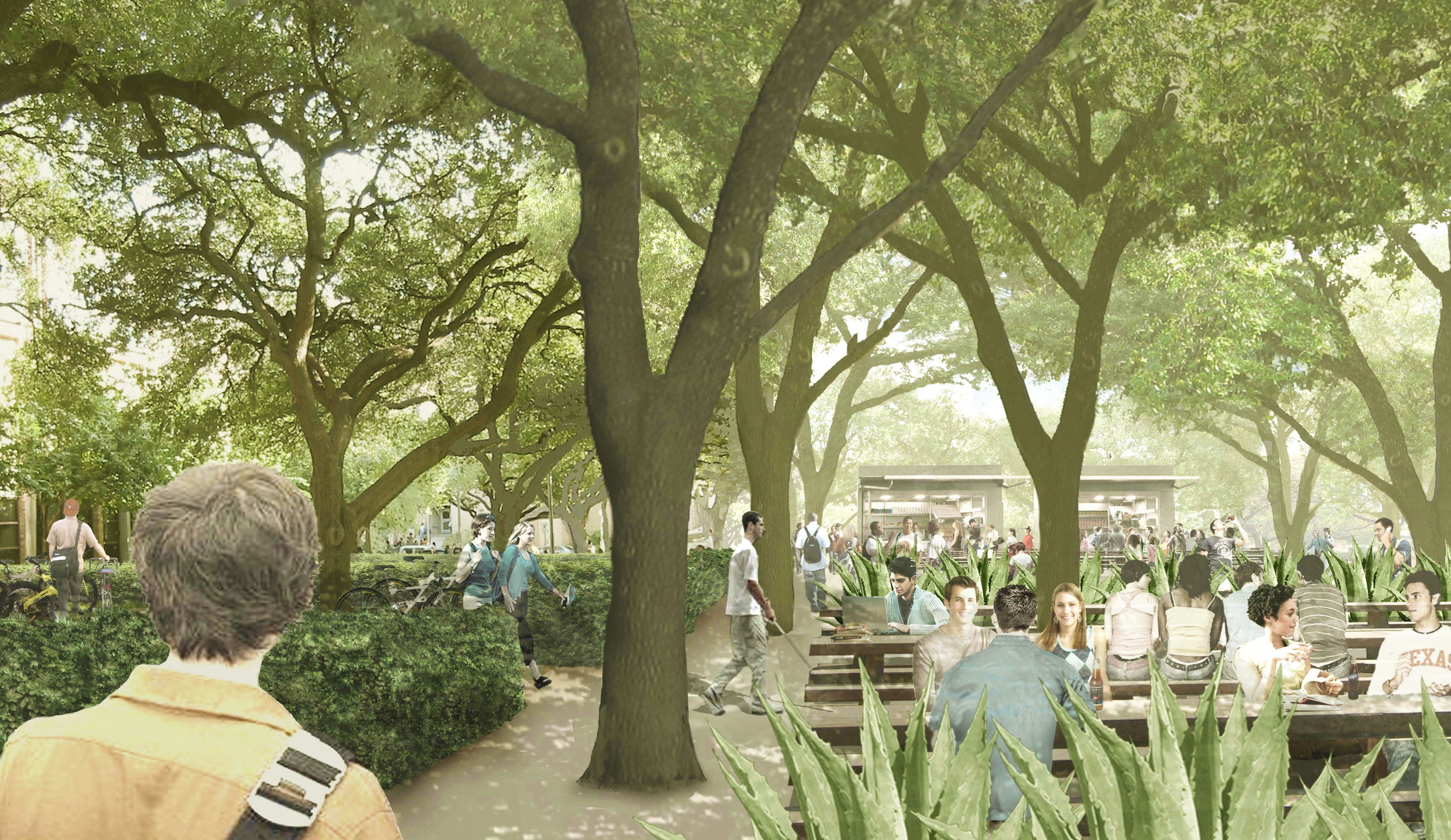 One of the many planned cafe gardens along the pedestrian mall