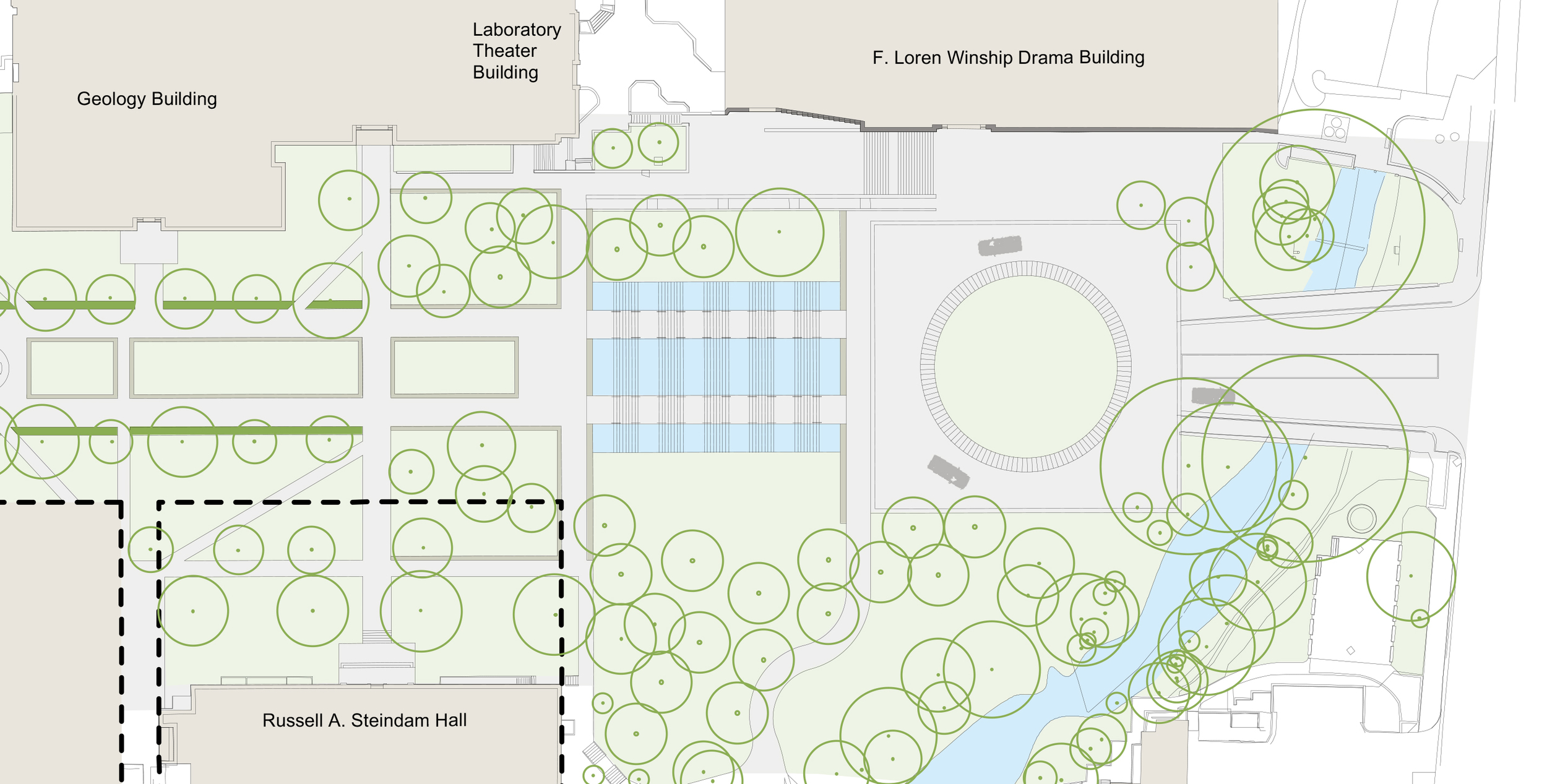 Illustrative plan of the redesigned East Mall Fountain