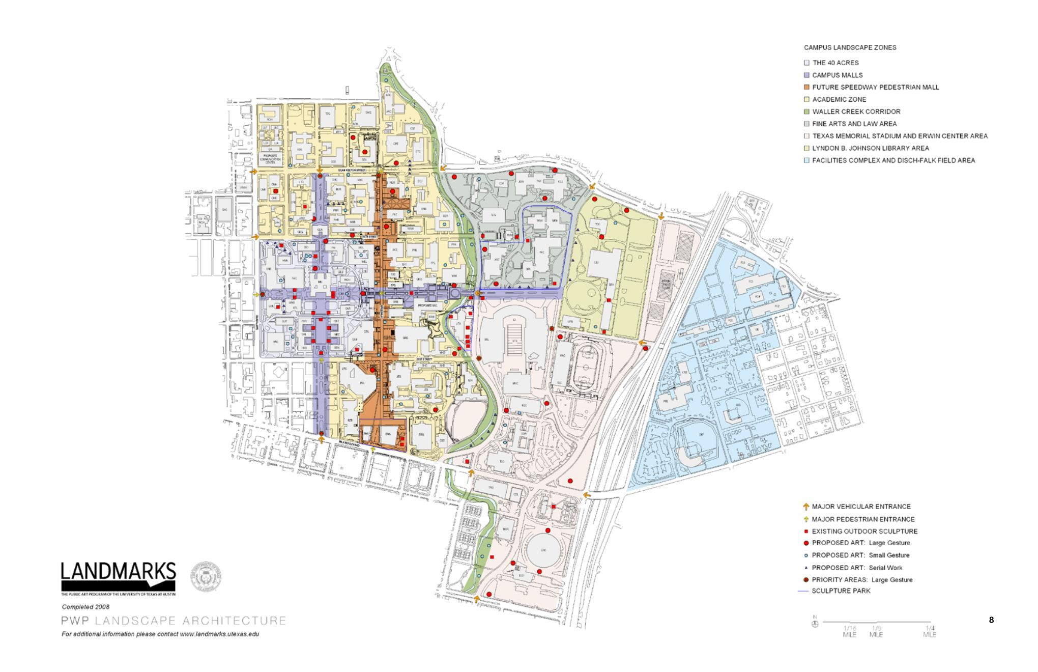 Possible locations for sculpture placement on the UT Austin campus