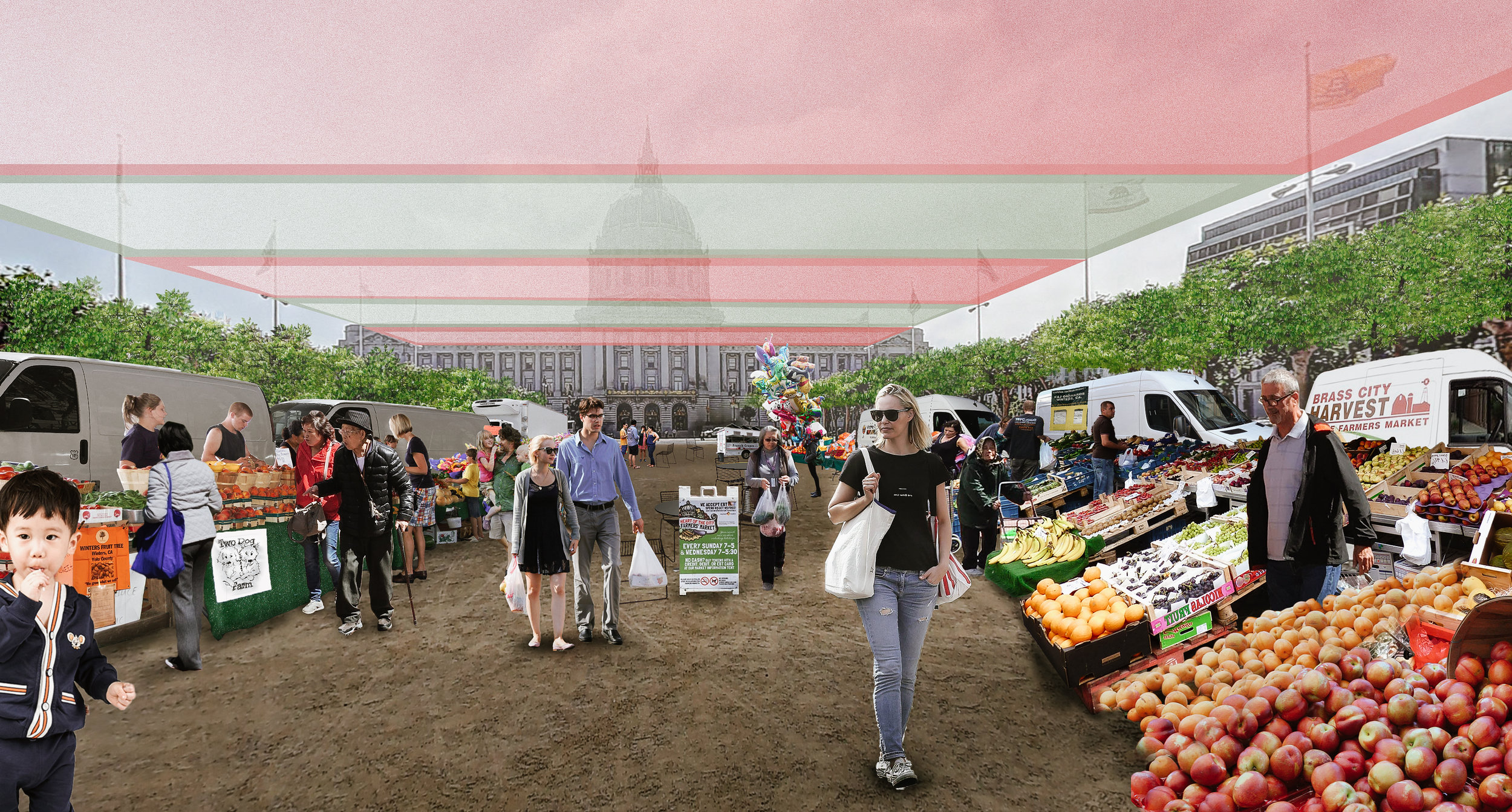 A rendering of the Civic Center Plaza with the temporarily relocated farmer's market, under the cover of a temporary shade canopy.