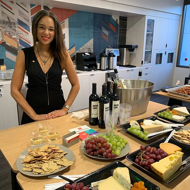 Wines for blockchain investors/curious! #winenot . . . Thanks lovely @britswine for your #sommelier expertise in pouring and pairing our wines with #cheese (s)! . . #Wine & #blockchain #vineyard owners with day jobs. Choose our wines for your next Technology, holiday, birthday or whatever gathering?! #winetasting #winelover s turned #winemakers #instagood #instawine #sauvignonblanc #malbec #rosé #red #cheers #salud