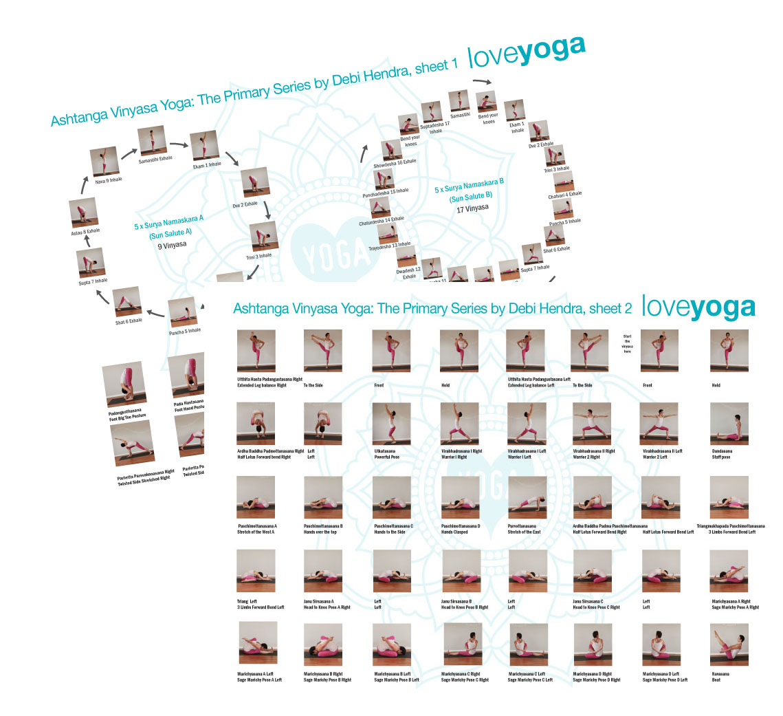 Ashtanga Yoga Primary Series A4 Handouts     A great support as your learn the sequence. Laminated for longevity.  NZ$20.00 for 2 double sided A4 sheets