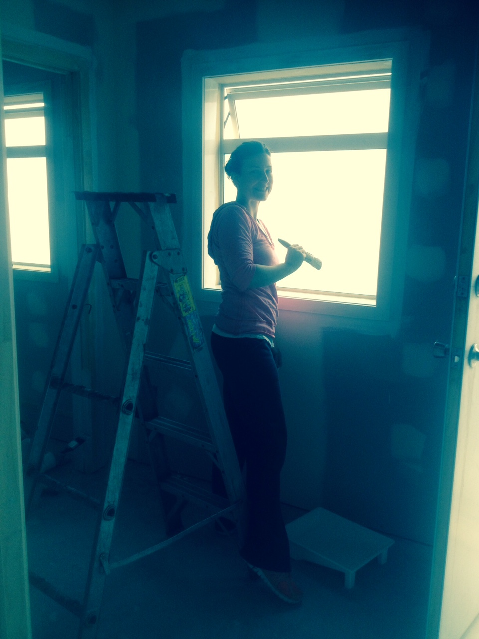 Dani, painting the back entrance area