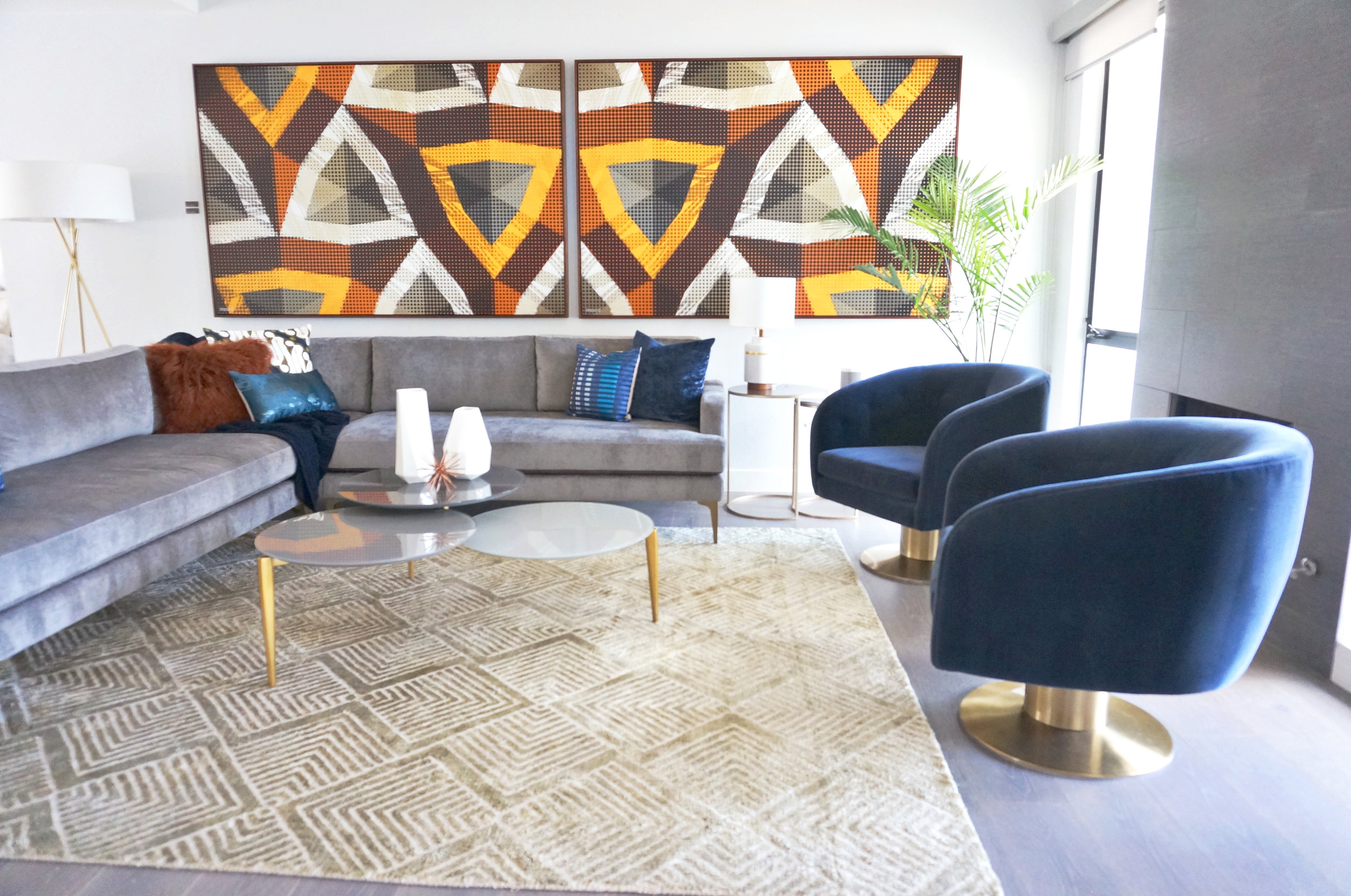 Lucious velvet tulip chairs and bold shapes at the West Elm Pool House