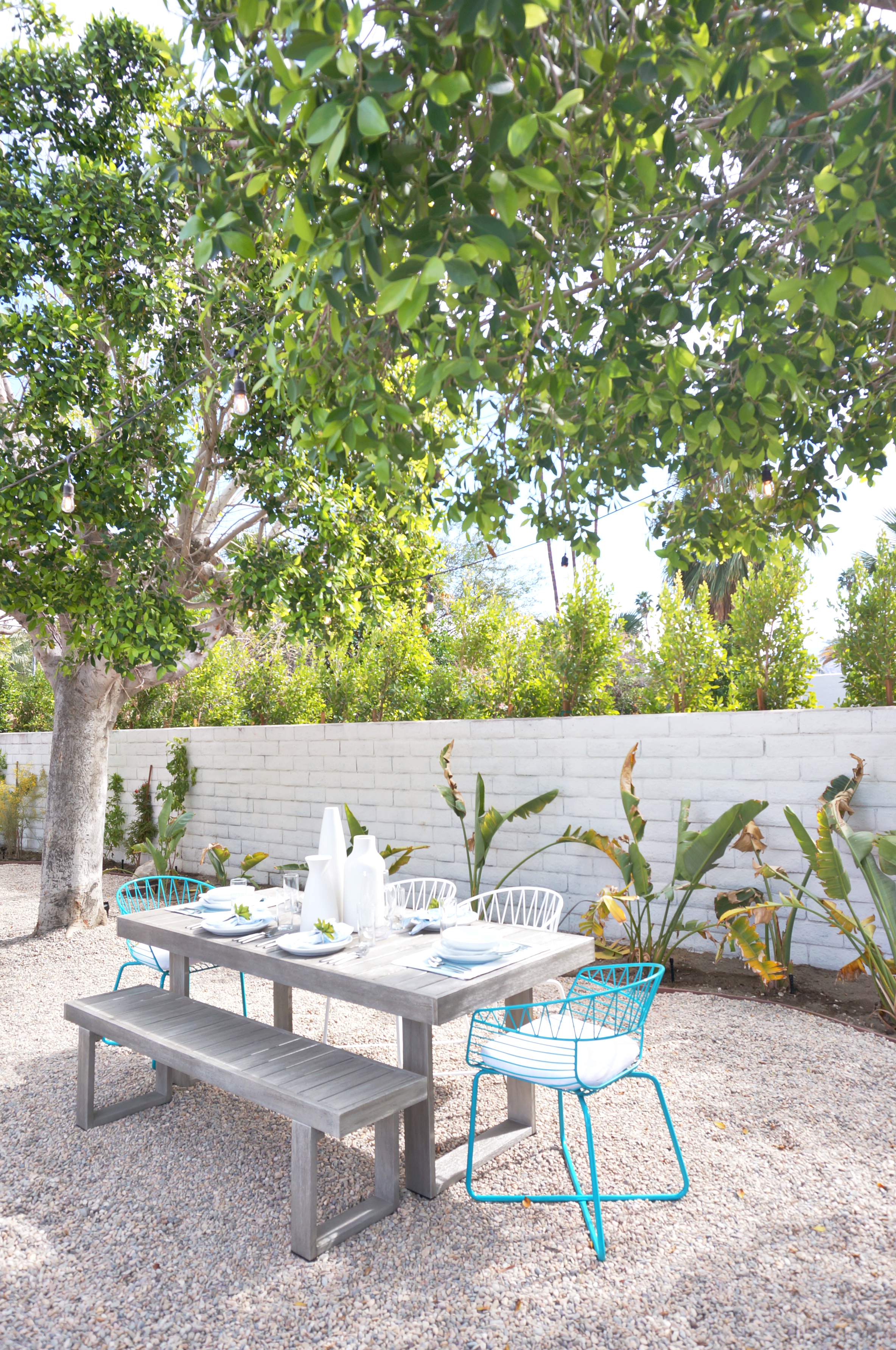 a sweet garden scene at the West Elm Pool House