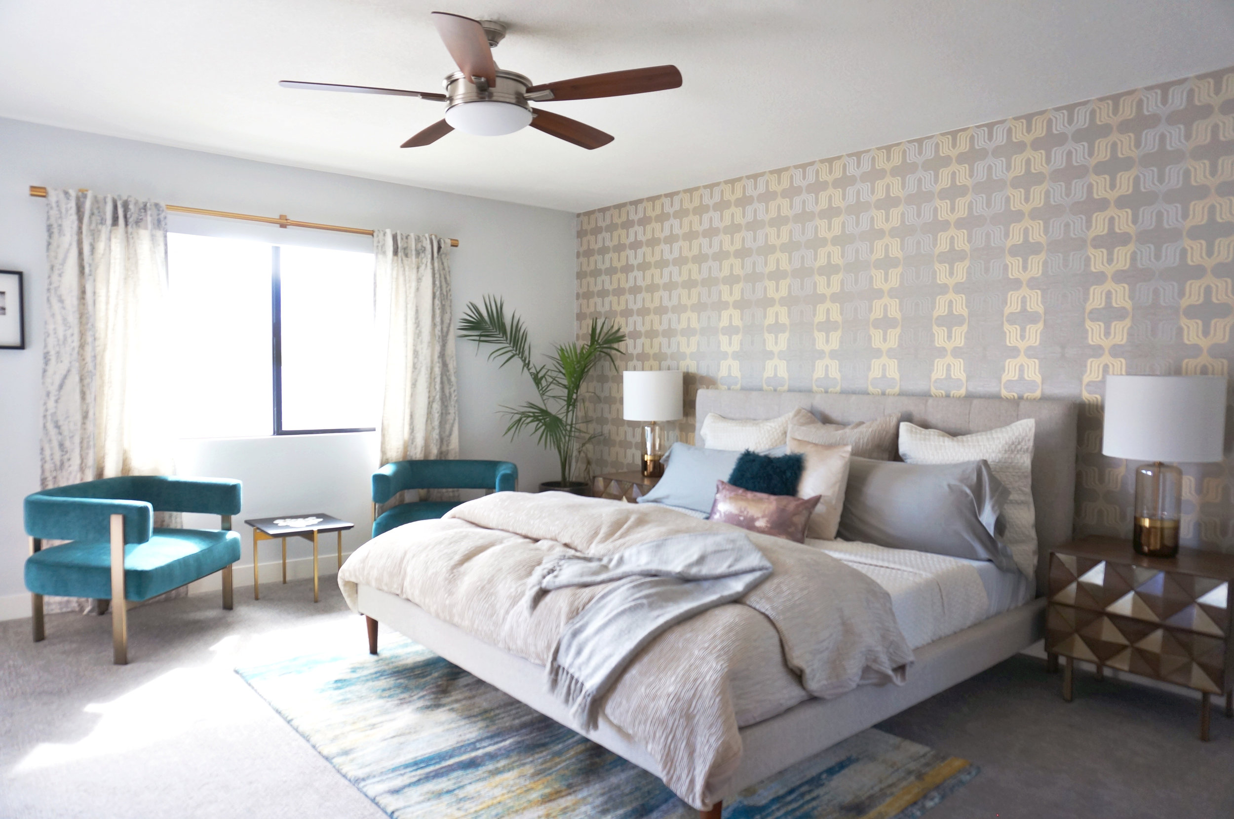 More velvet and metallic accents in the bedroom at the West Elm Pool House