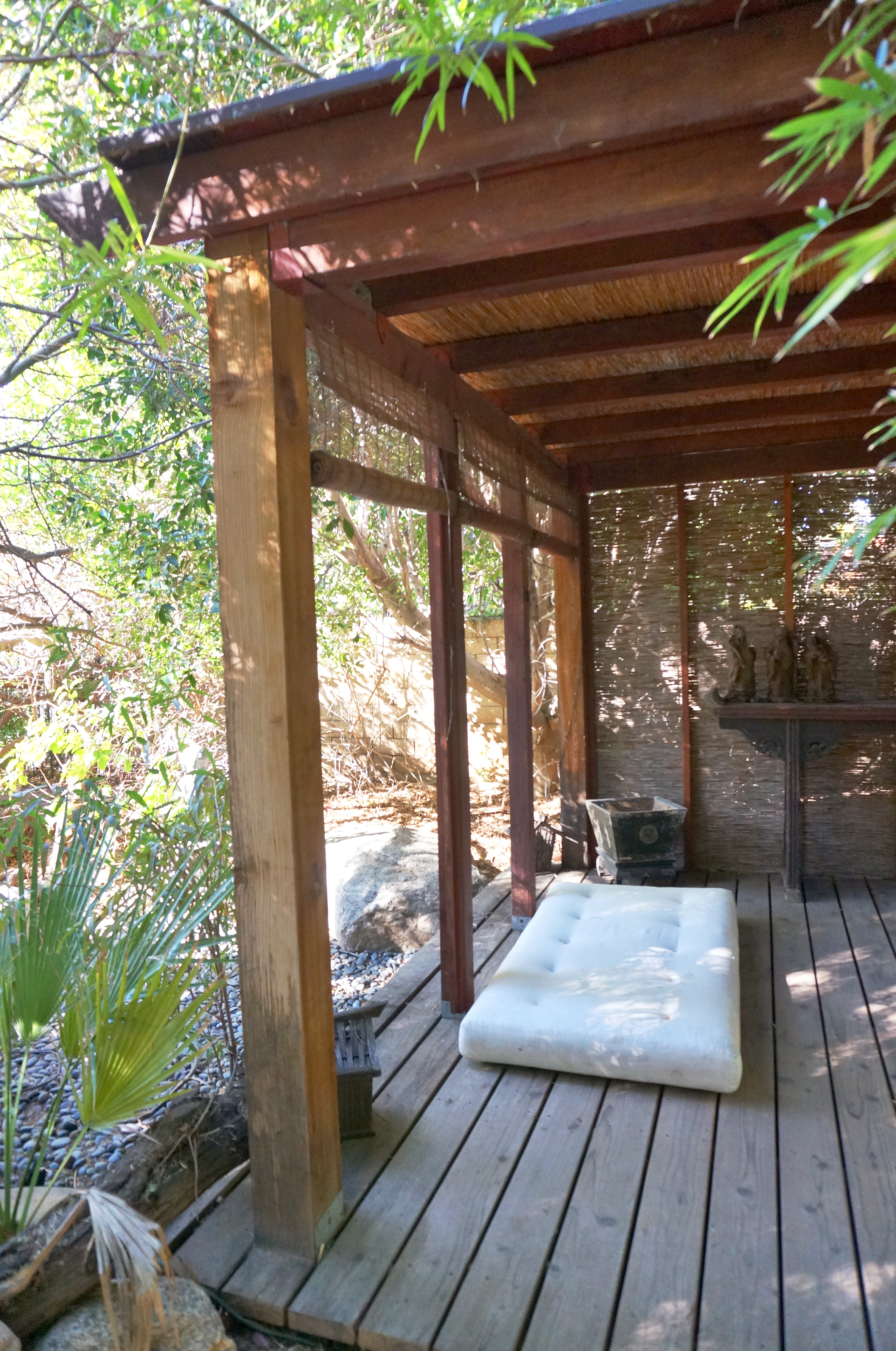 Meditation station in a beautiful garden space