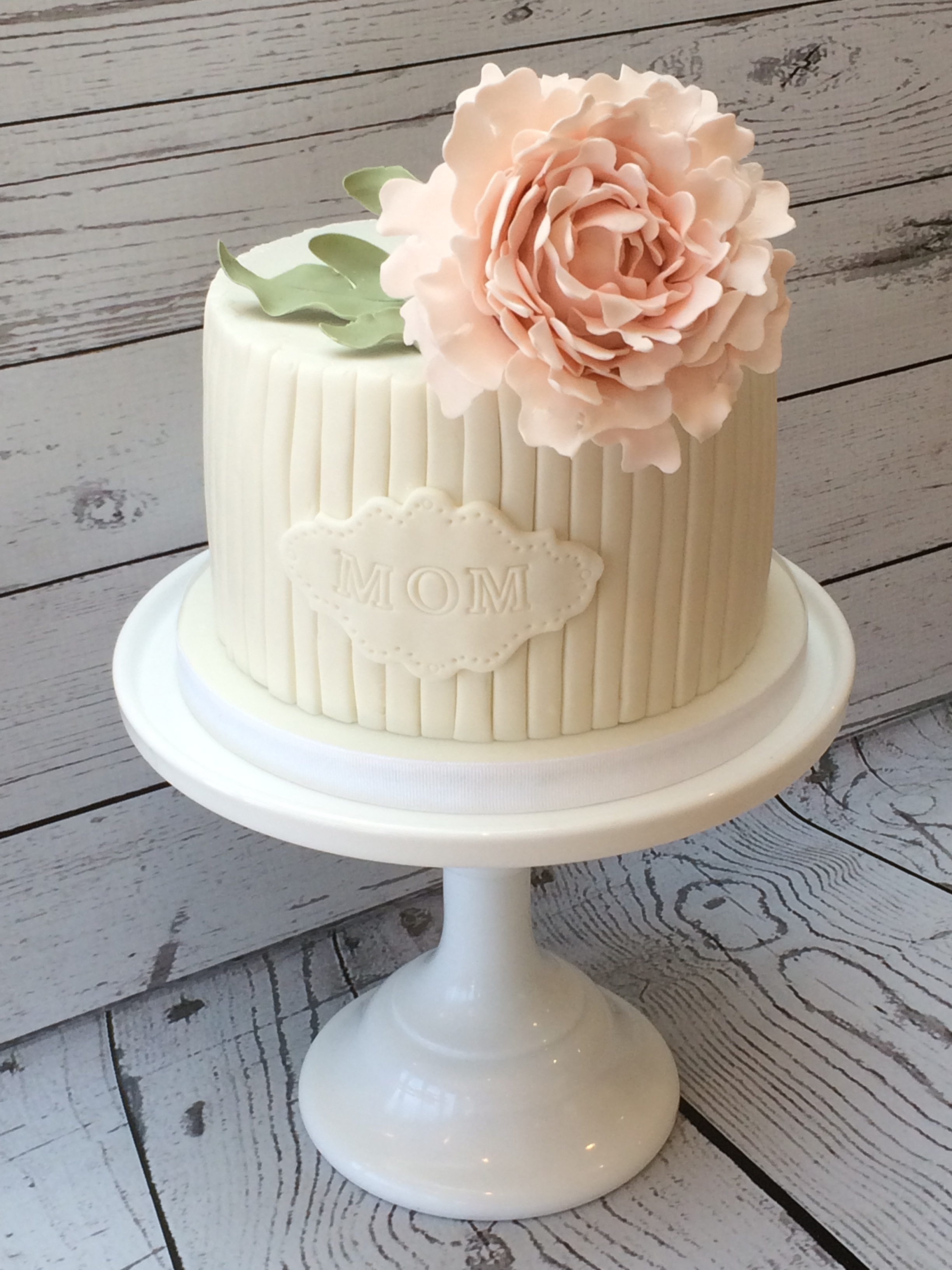 White-on-white Peony Cake (inspired by an original design by Couture Cupcakes)
