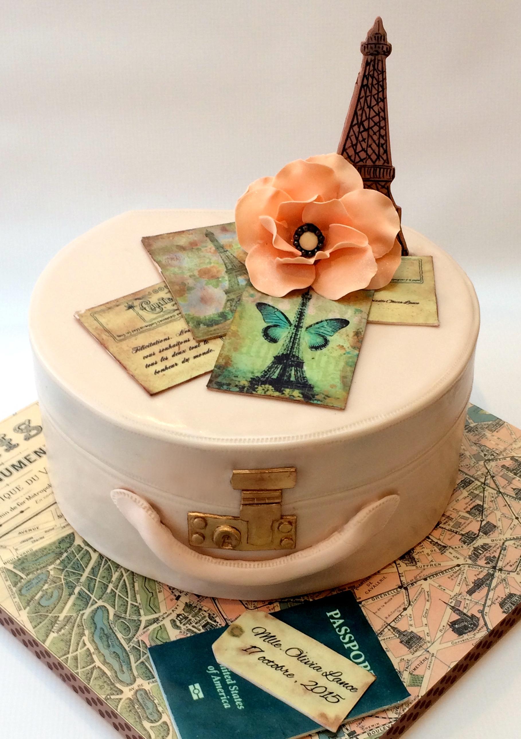 Paris-themed bridal shower/engagement cake