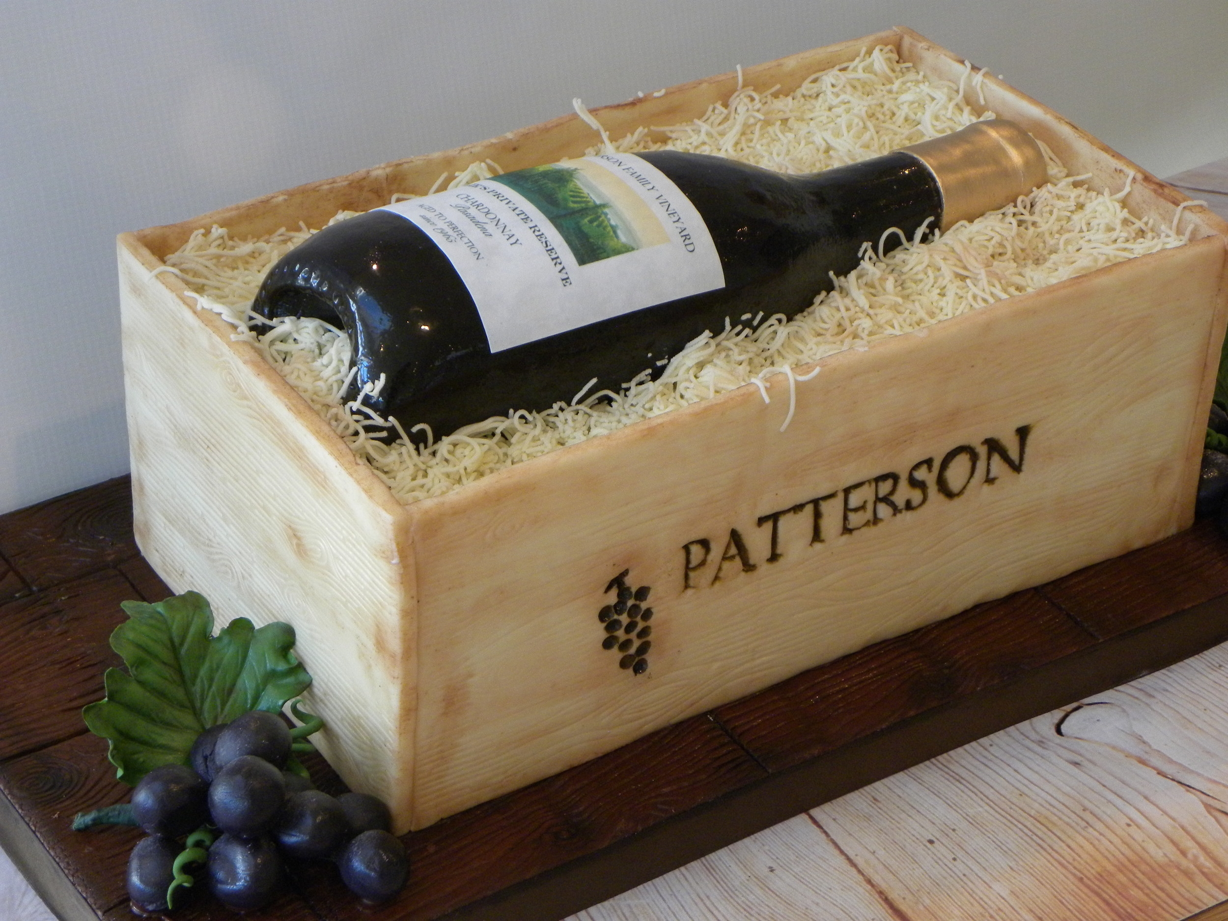 Wine Bottle Cake with Faux Wood Crate
