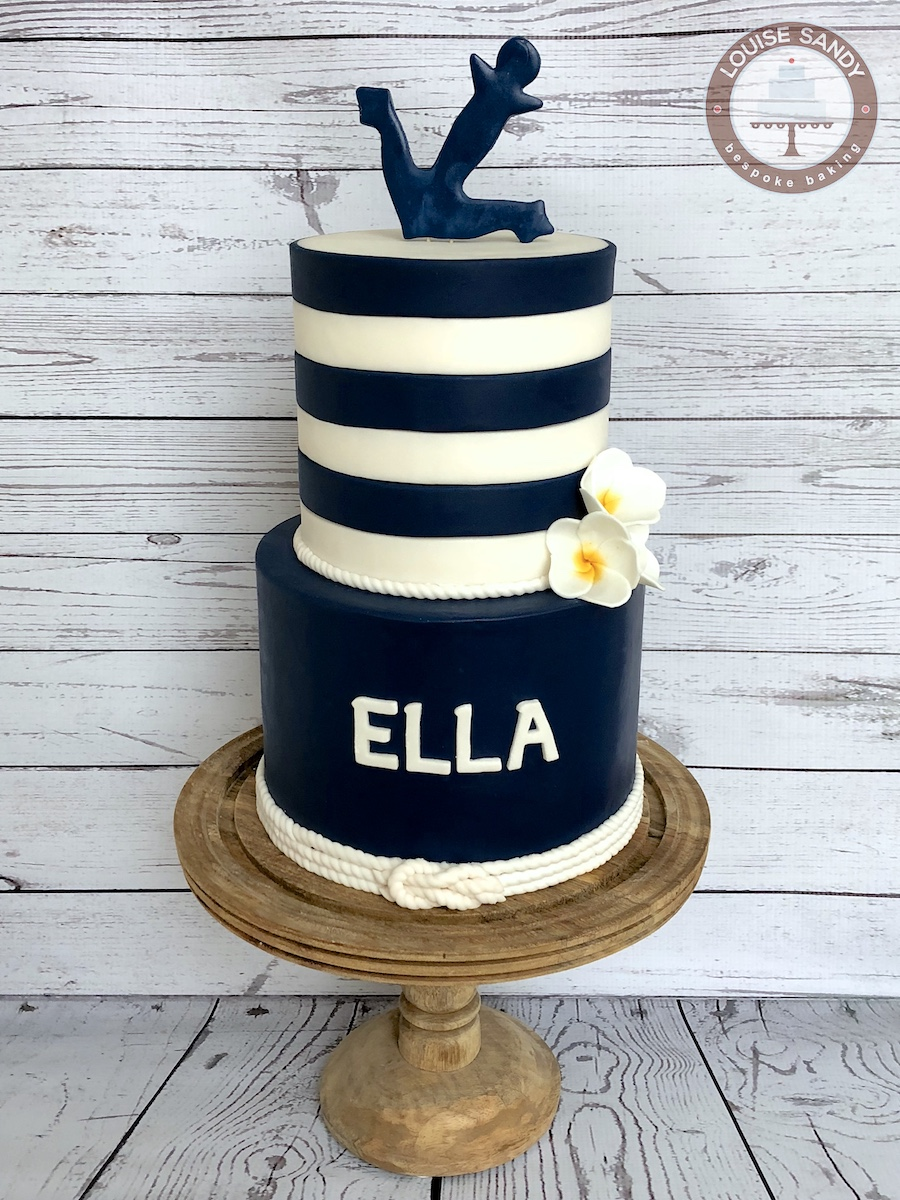 Nautical Stripe Anchor Cake