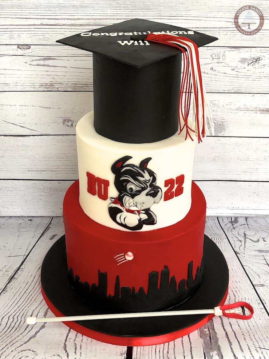 Boston University BU Graduation Cake with Lacrosse Stick