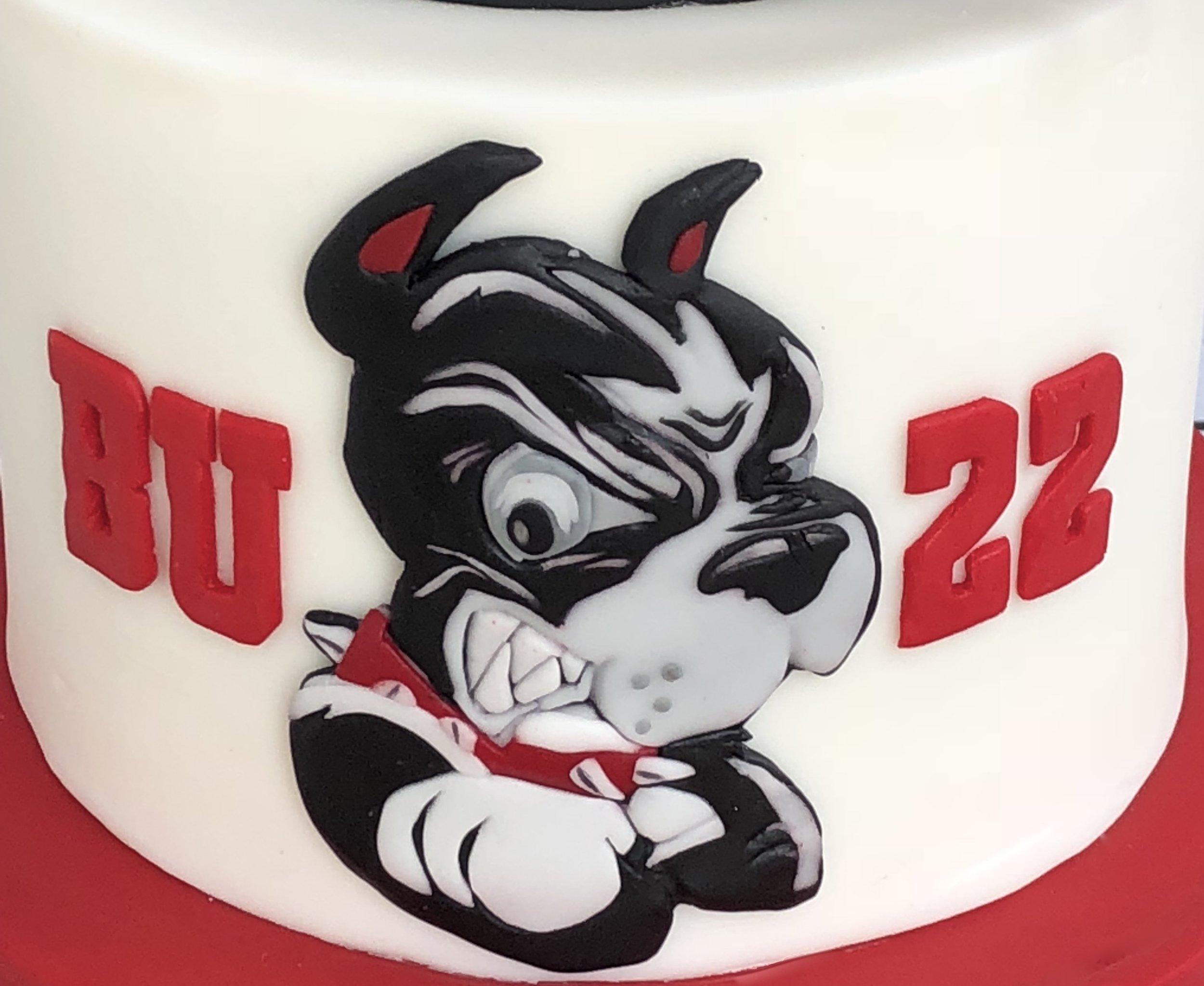 Hand-cut BU Terrier logo
