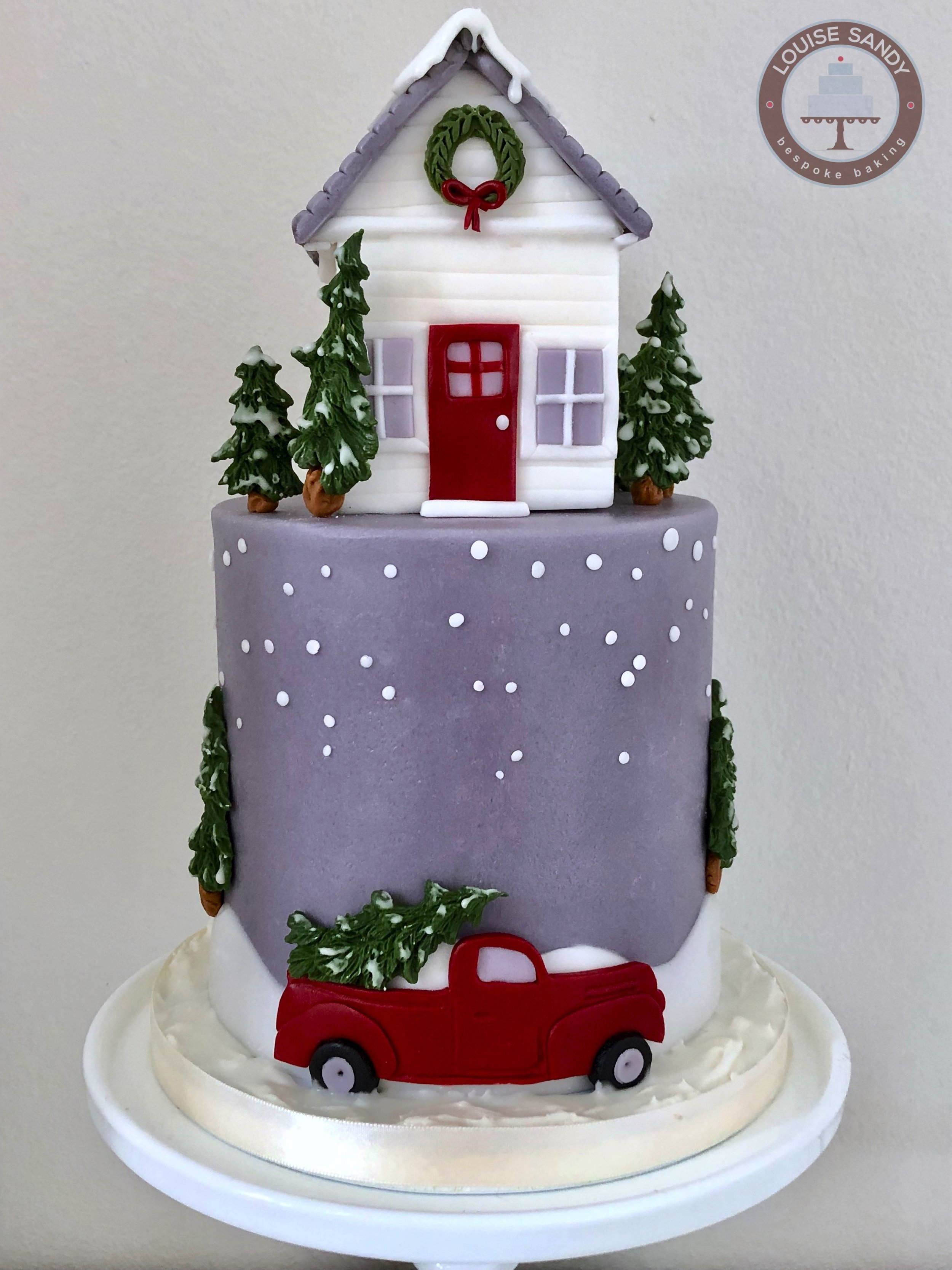 """""""Home for the Holidays"""" Christmas Cake, with Red Truck delivering Christmas Tree"""