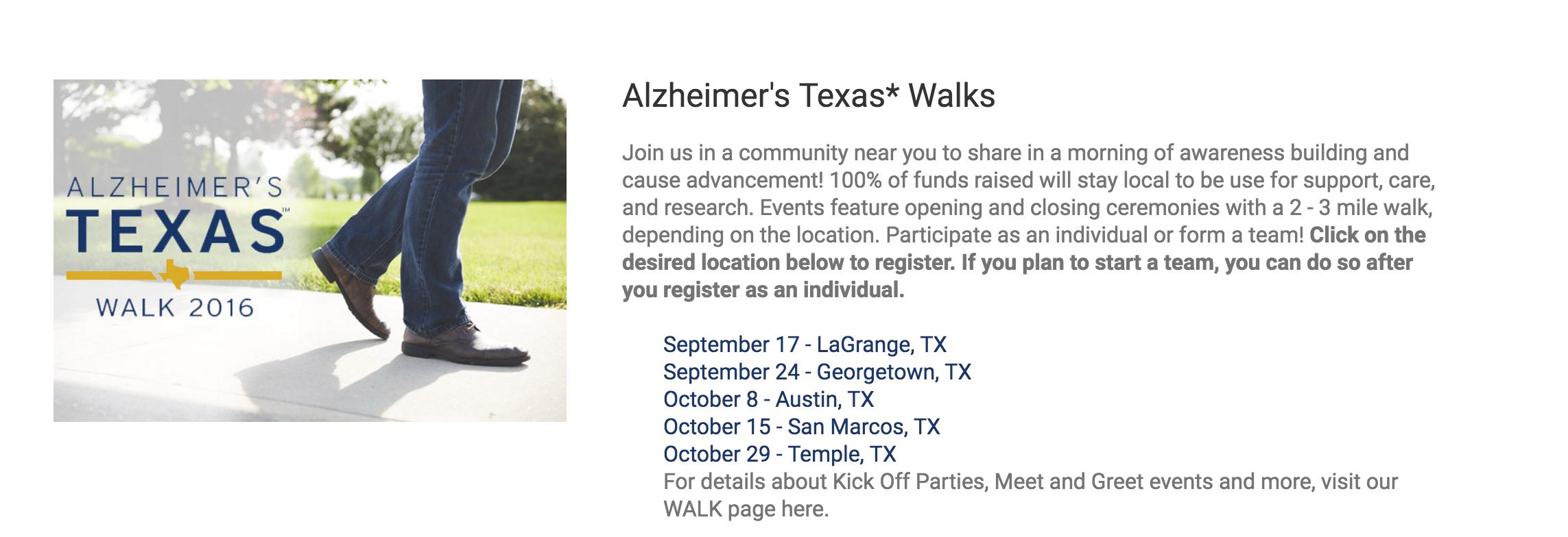 Learn more on their website-  Alzheimer's Texas