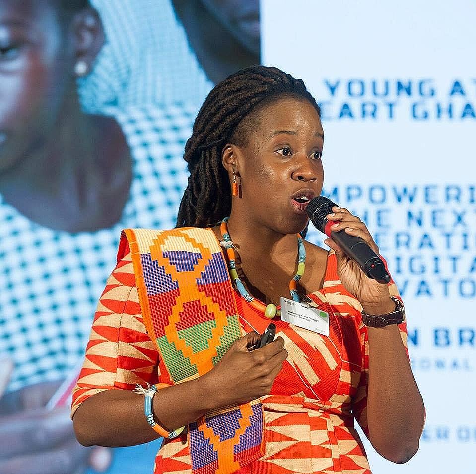 Josephine develops tech platforms & workshops focusing on youth in rural communities in Africa WE Rule Justyna Kedra werule community female founders global