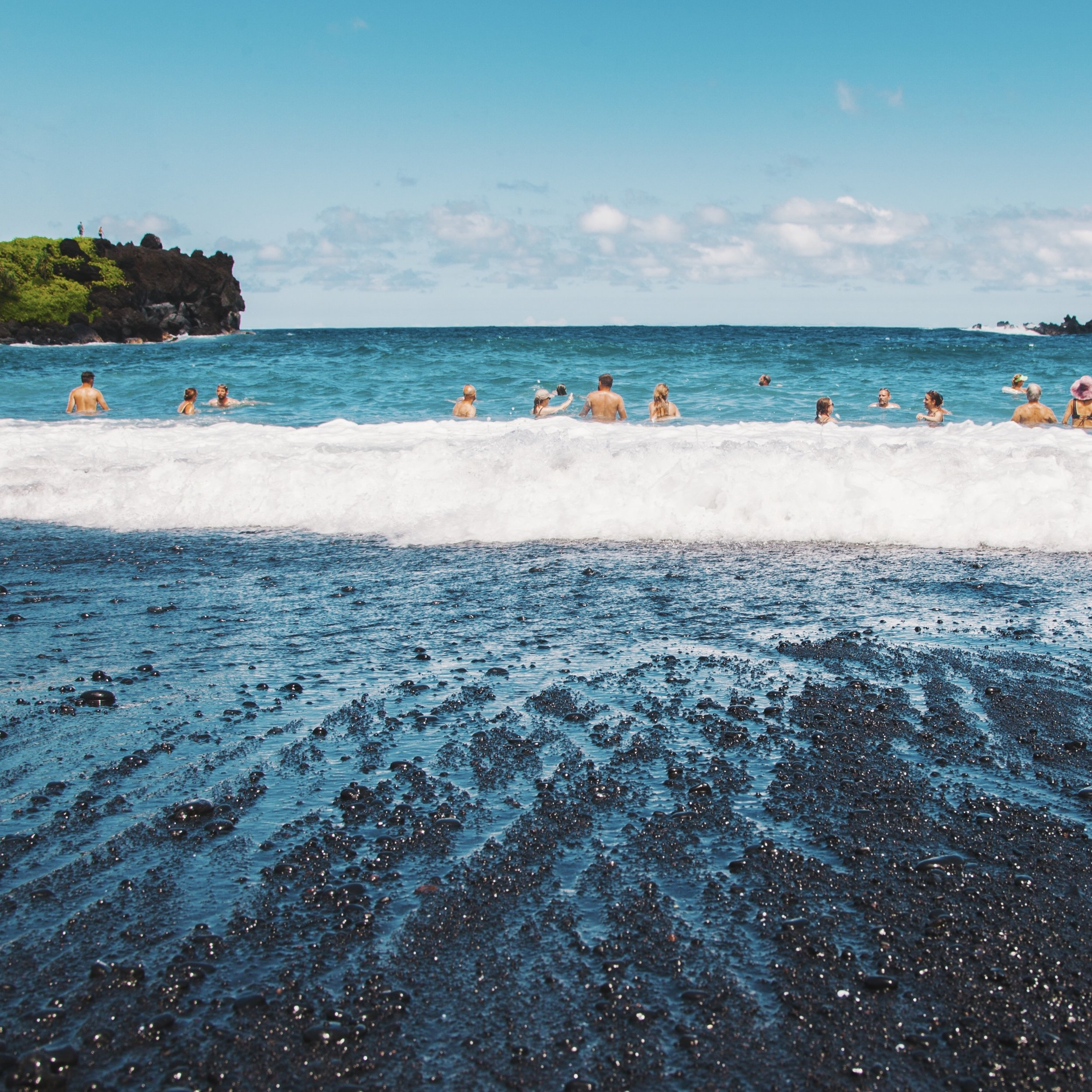 Wai'anapanapa Beach. Black sand beach during Road to Hana.