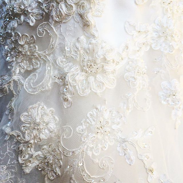 It's all in the details... . . . A closeup of my brides beauful #casablanca #weddinggown at her first fitting! #beading #beautifulbride #letthecountdownbegin #fitslikeaglove