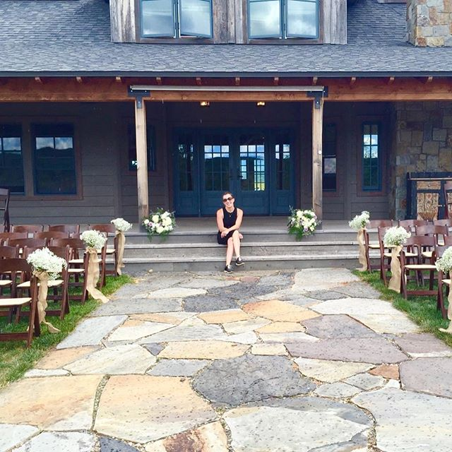 My dear friend @lizzygore34 sent me this sweet memory from a #pictureperfect #wedding in #steamboat this summer. This is a rare image in that it catches me sitting down on #eventday haha! Liz made me do it! #ranchlife #workshoes #COwedding #eventplanner #workworkworkworkwork