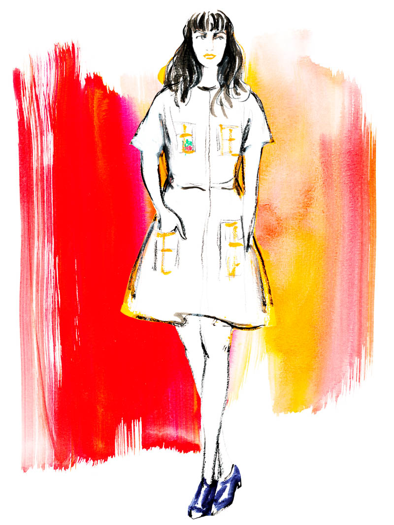 A quick sketch of Samantha Pleet in one of her dazzling creations