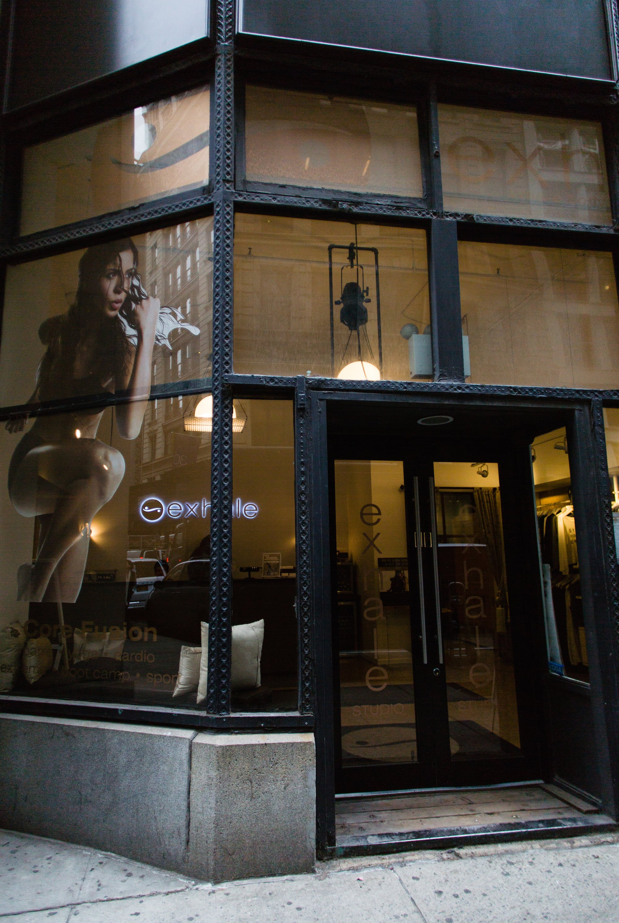 Exhale New York:  19 West 21 Street New York,NY 10010 -Members receive a complimentary week and access to $25 classes, complimentary week and we also have plans to introduce classes at he Brand Assembly Square.