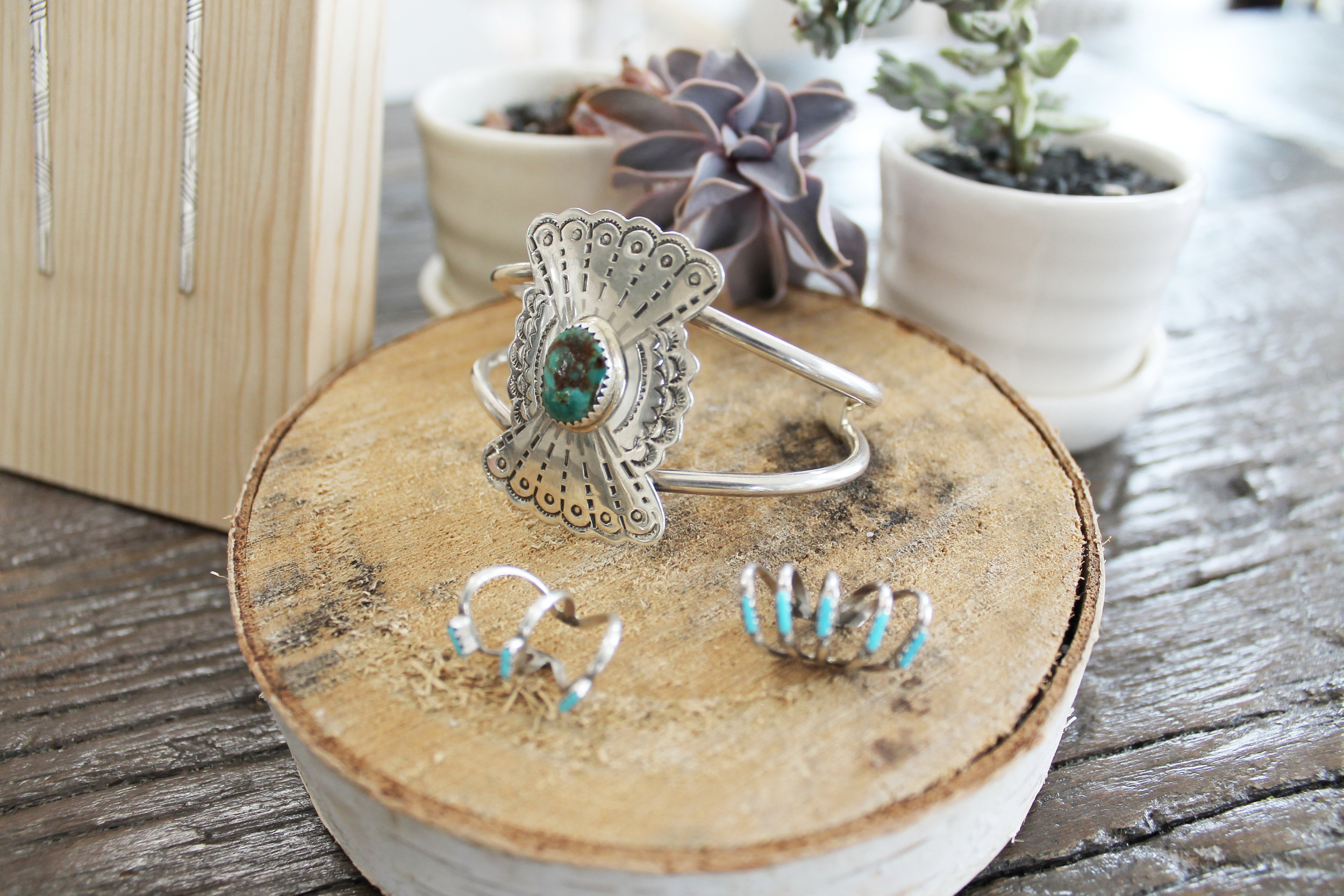 Pictured: Bow & Arrow Concho Cuff, Sleeping Beauty Ear Cuff,and Sterling Triangle Wire Earrings in Geo