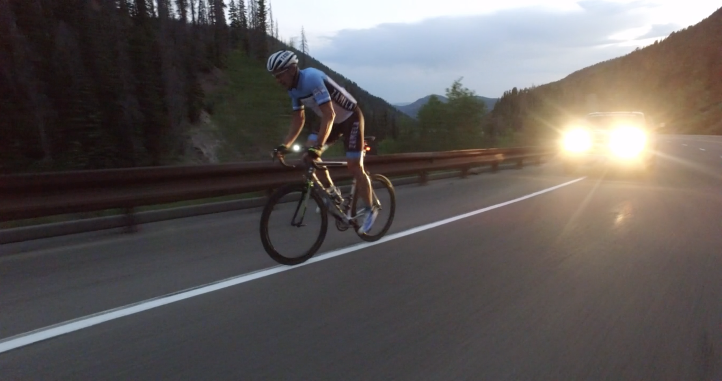 Matt Puomo approaching the highest point in RAAM - Wolf Creek Pass, CO 10,800'