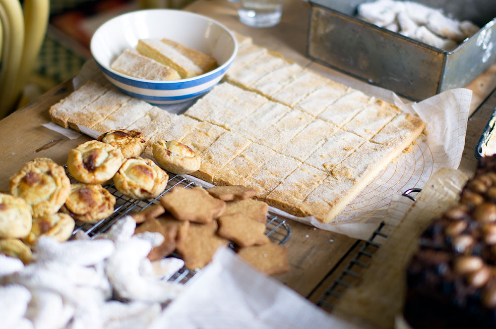 L-R: Annie's baked goods - mince pies, shortbread, speculaas and almond crescents