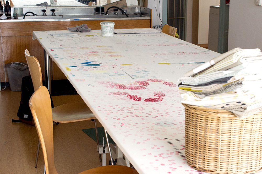 The printing table and dropcloth. Photo by Susan Fitzgerald.