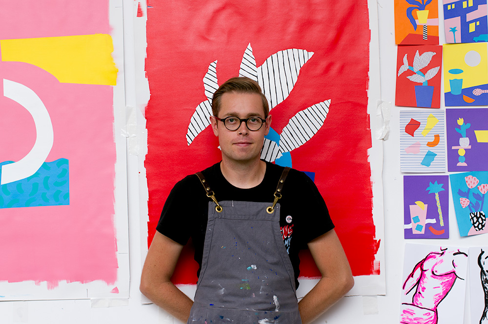 Spencer Harrison and his artwork-in-progress. Photo by Susan Fitzgerald.