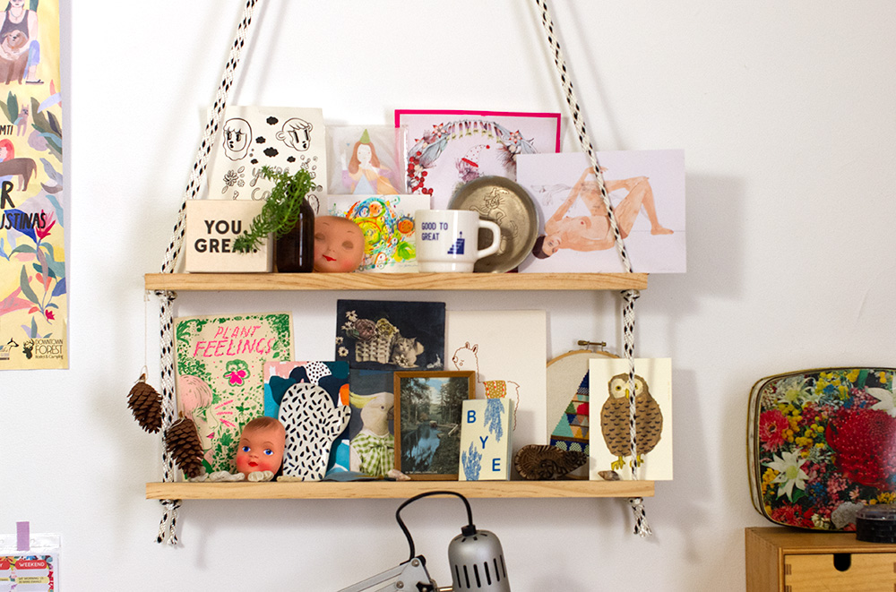 This shelf, which Esther made herself, sits above her desk. I really want to make a shelf like this now! Photo by Susan Fitzgerald.