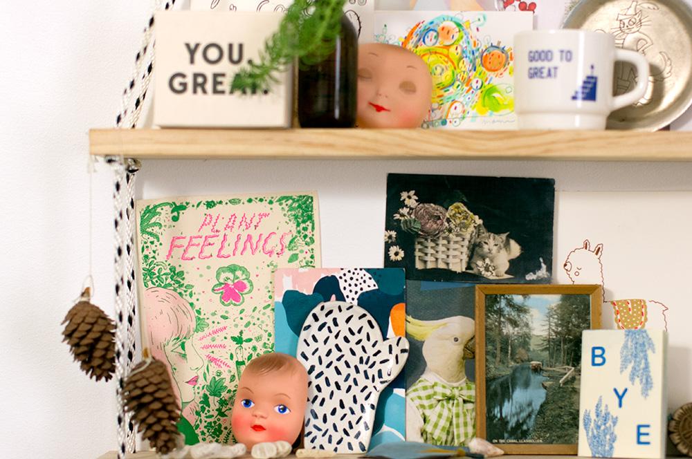 Esther's inspiration shelf. Photo by Susan Fitzgerald.