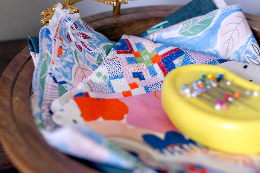 Purses waiting to be sewn up. Photo by Susan Fitzgerald.