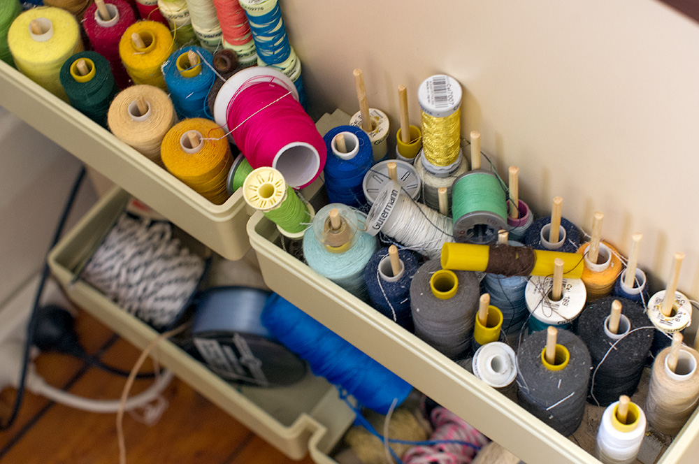 Tools of the trade - so many cotton reels! Photo by Susan Fitzgerald.