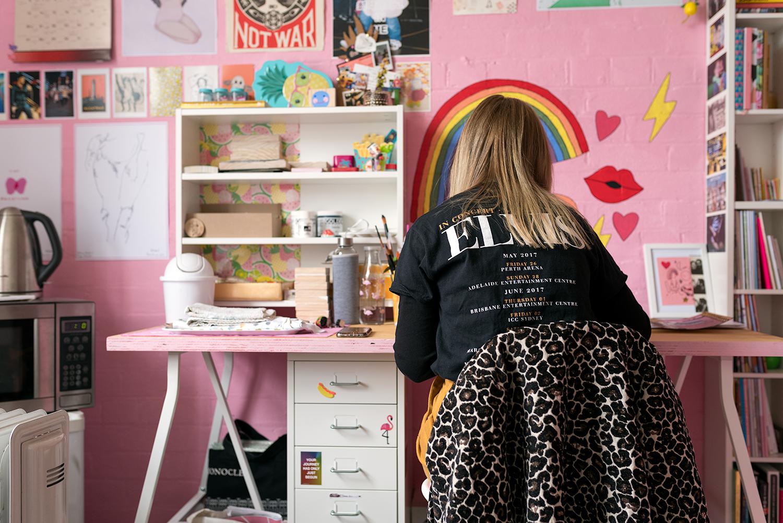 Tegan in her studio. Photo © Susan Fitzgerald 2017.