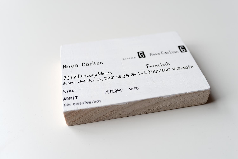 Tegan's tiny hand painted tickets. Photo © Susan Fitzgerald 2017.
