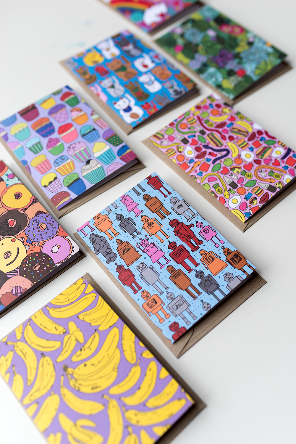 Some of the cards Tegan's designed for AHD Paper & Co. Photo © Susan Fitzgerald 2017.