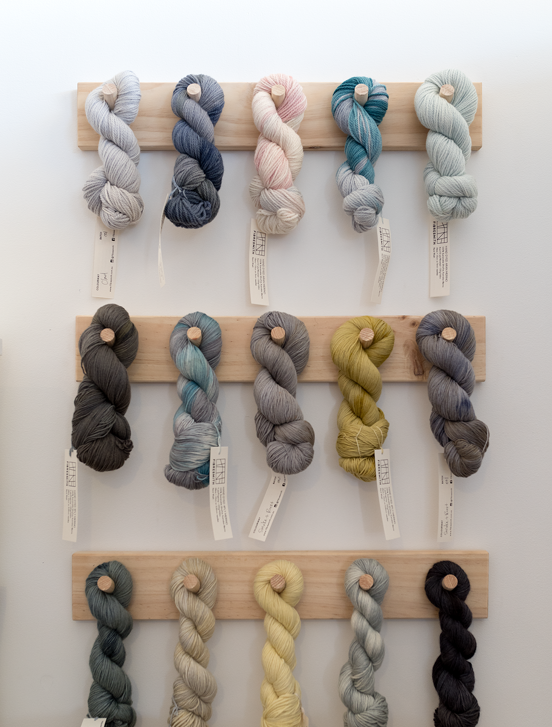 Skeins of Leslie's handdyed Fibresmith yarn.Photo by Susan Fitzgerald.