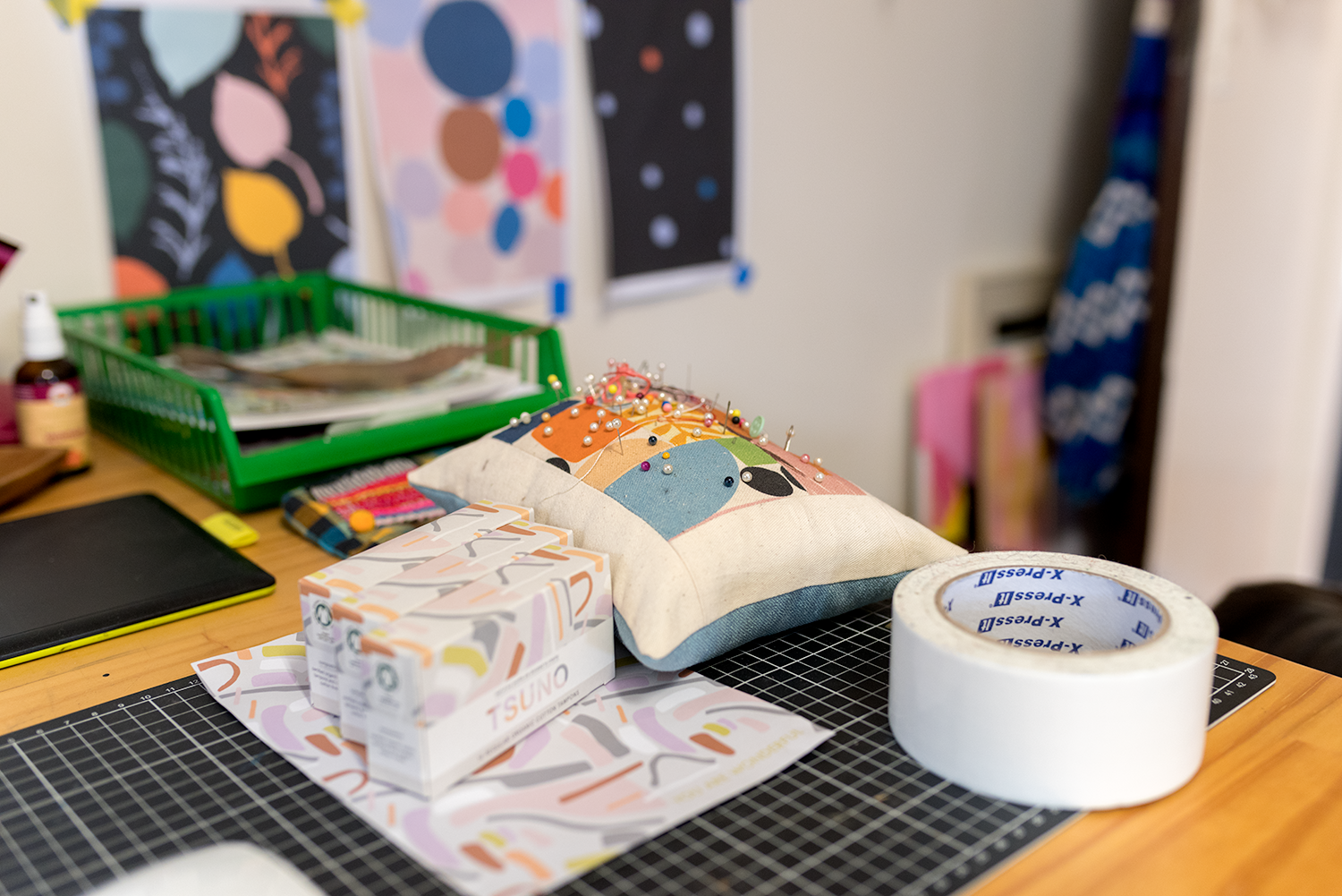 A pin cushion Claire made, using scraps of her fabric. And some Tsuno tampons that just arrived in the mail, with packaging designed by Andrea Shaw. Photo © Susan Fitzgerald 2017.