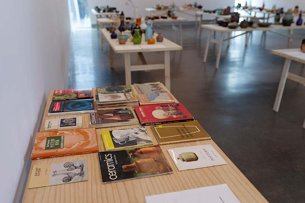 A selection of vintage ceramics books on display at the exhibition