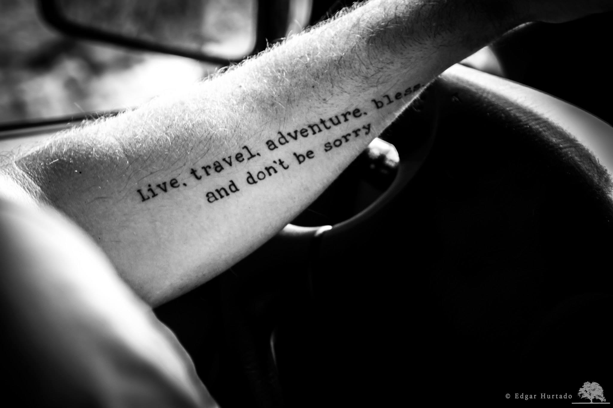 "Early morning with Mexican photographer Edgar Hurtado riding shotgun filming my recent tattoo of one of my favourite quotes by Jack Kerouac from ""On The Road"""