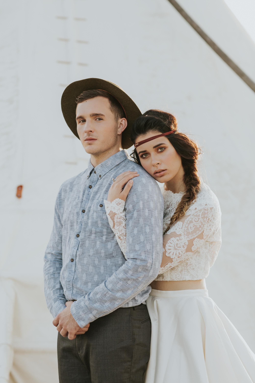Marfa Texas Wedding | El Cosmico Wedding | Bride and Groom in Marfa | West Texas Wedding