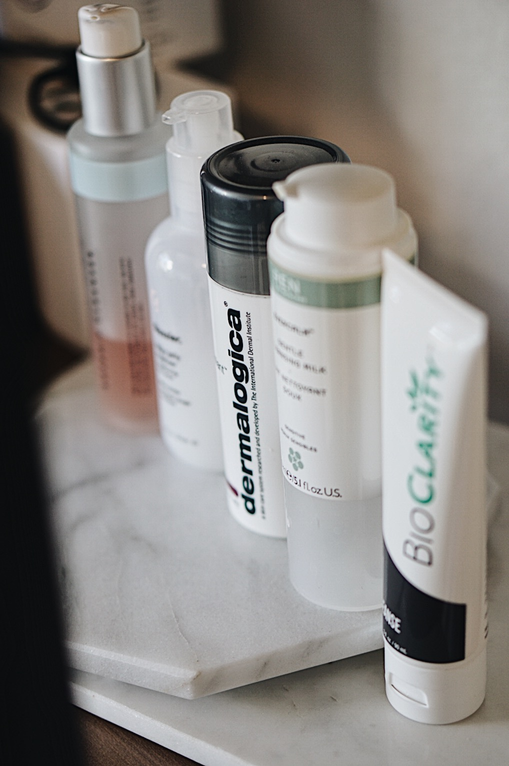 Face Cleansers: Dermalogica, Glossier, BioClarity, REN, Indie Lee