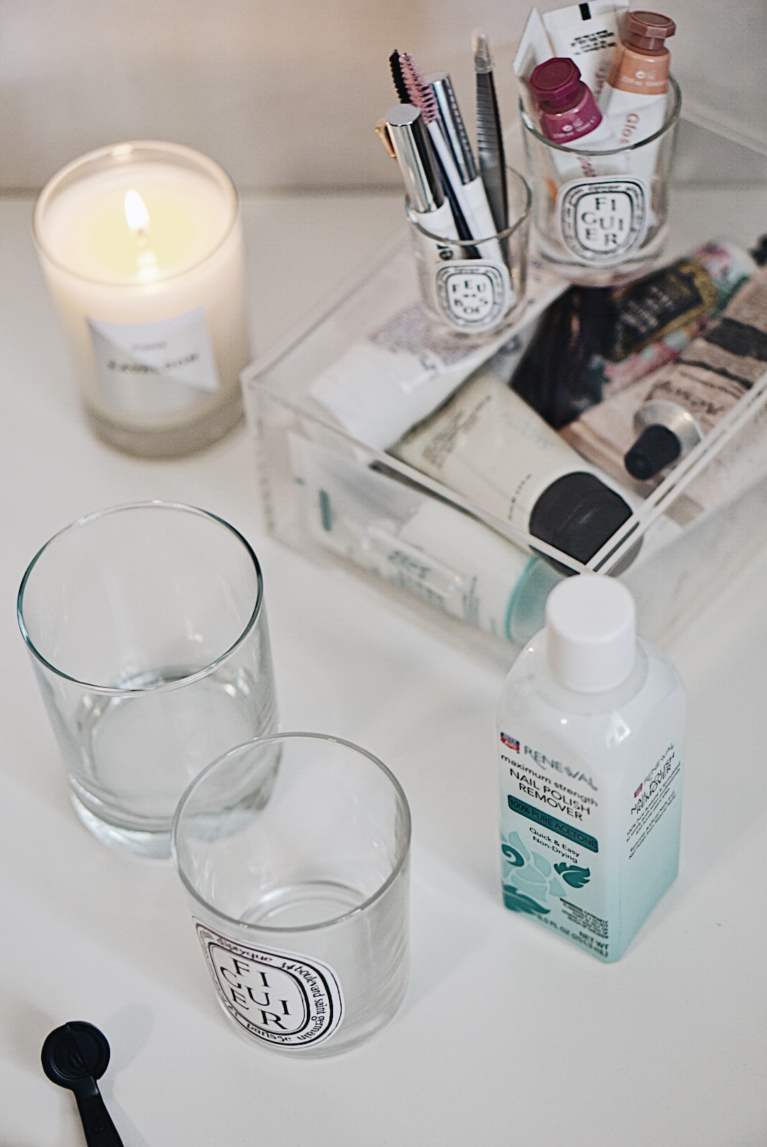 Repurposing Candle Jars and How to Clean Them, Diptyque Jars and Glossier Products