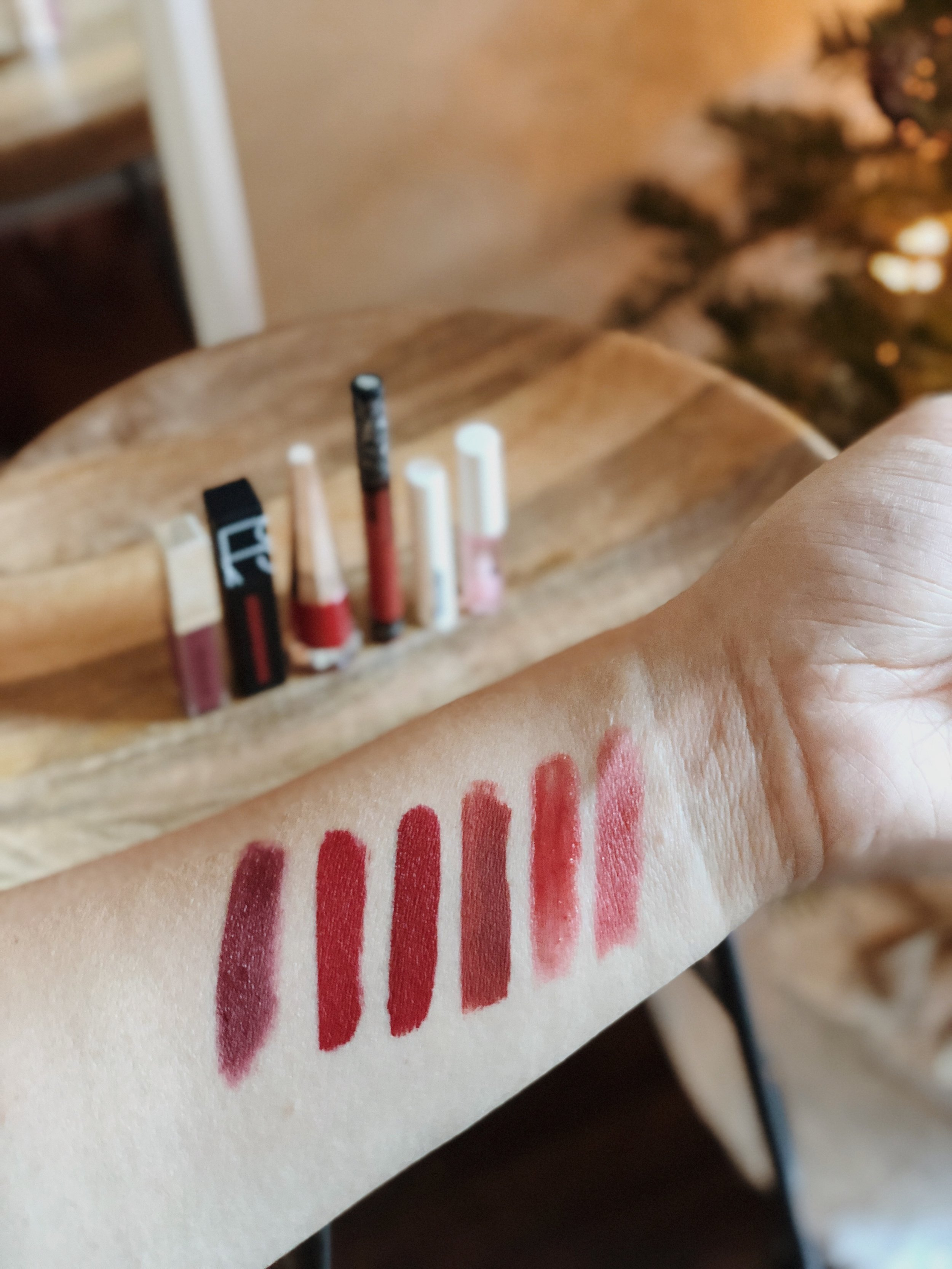 Holiday Red Lipstick Options Swatches - Burberry, NARS, Kat Von D, Glossier