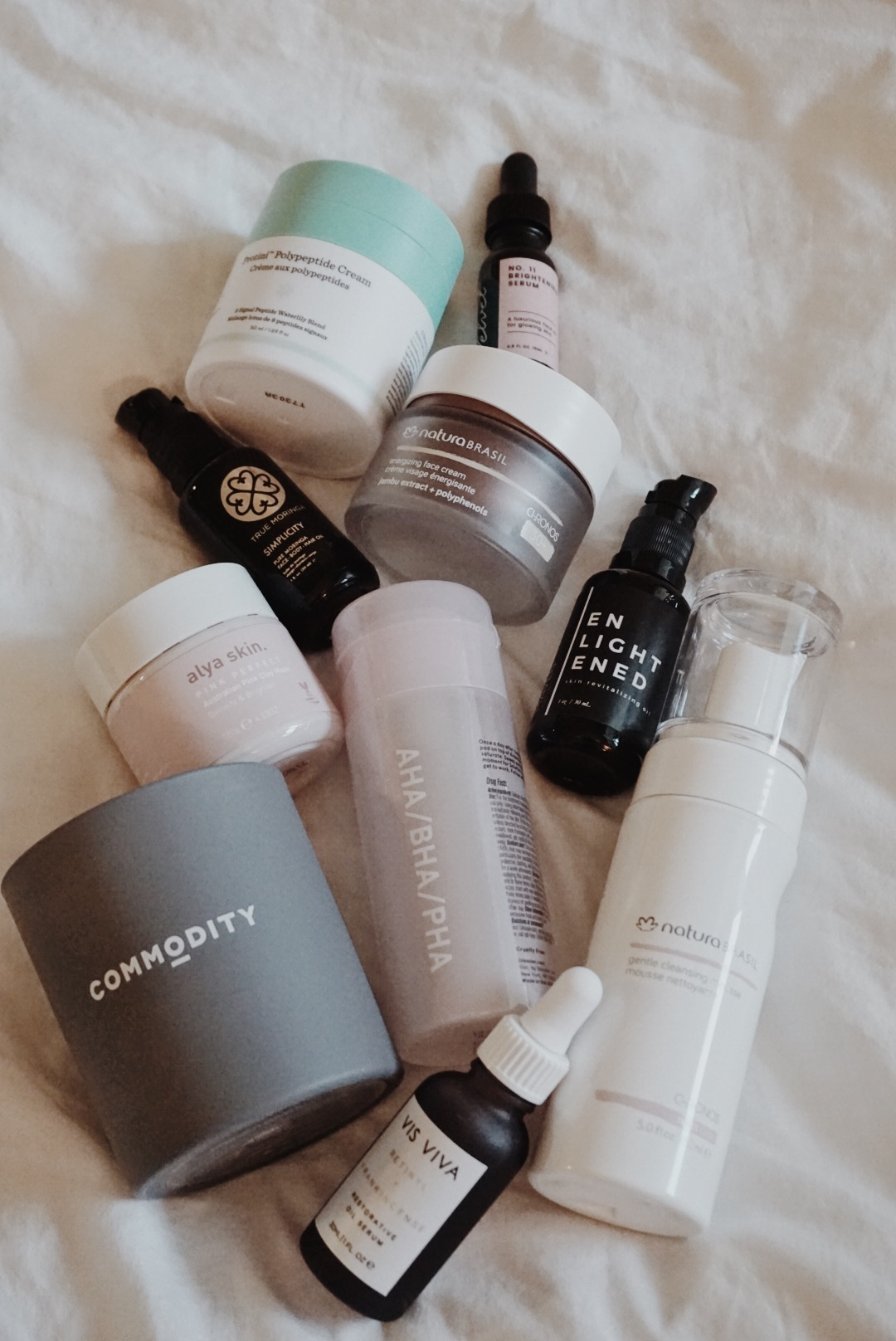 Products I'm Currently Testing: Drunk Elephant, Glossier, Commodity, Alya Skin, Vis Viva, Maven Botanics, Natura Brasil