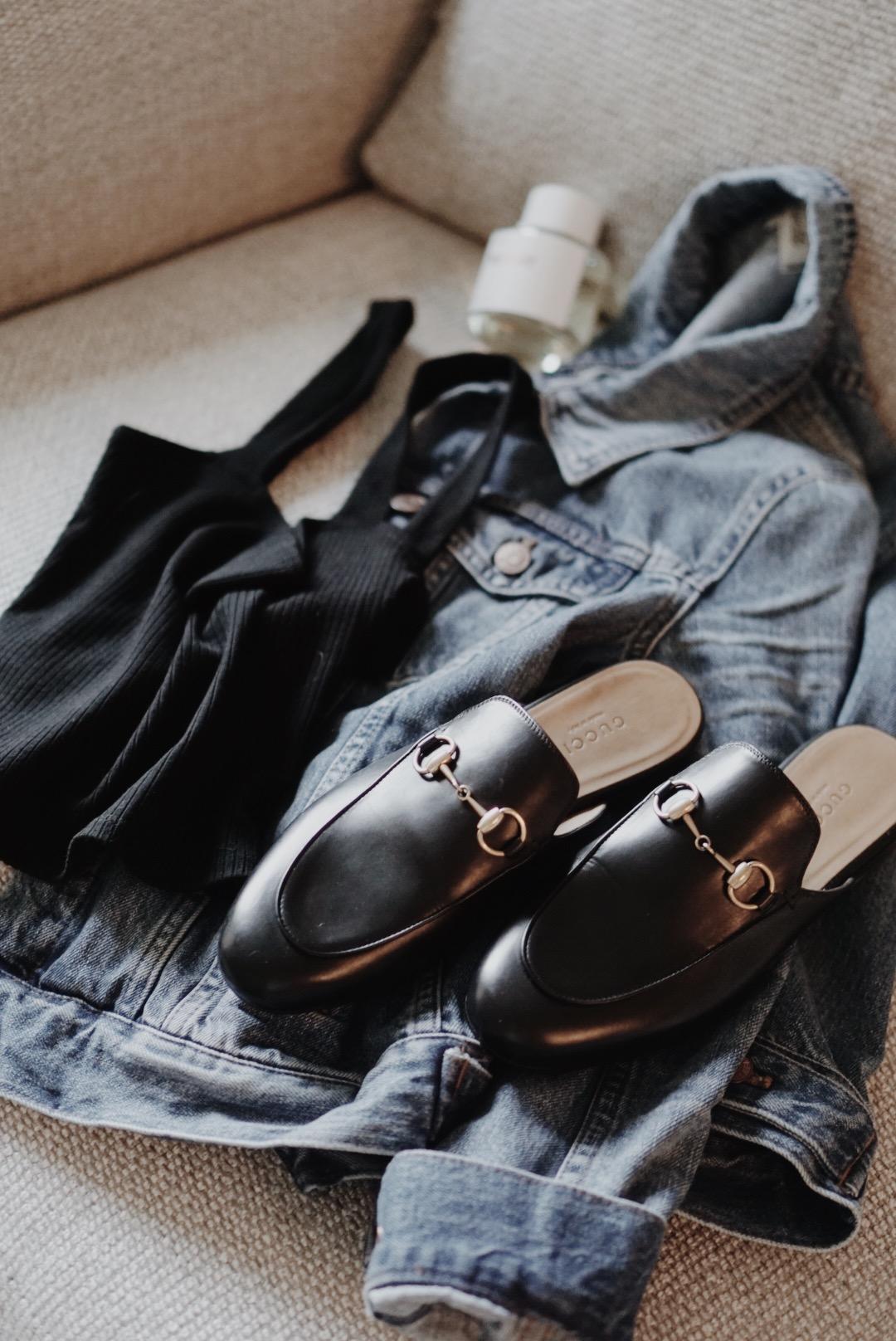 Summer Wardrobe Essentials Gucci Princetown, Madewell Jean Jacket Pinter Wash, The Reformation